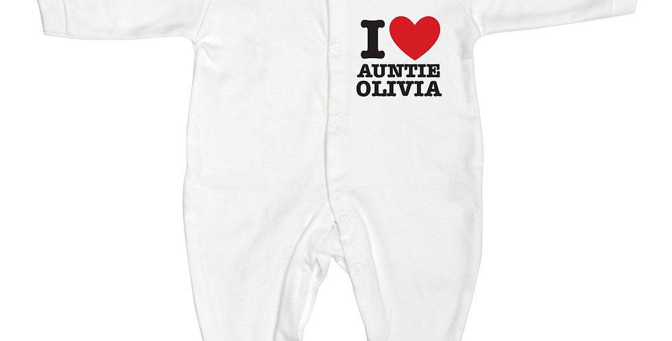 Personalised I HEART 0-3 Months Babygrow
