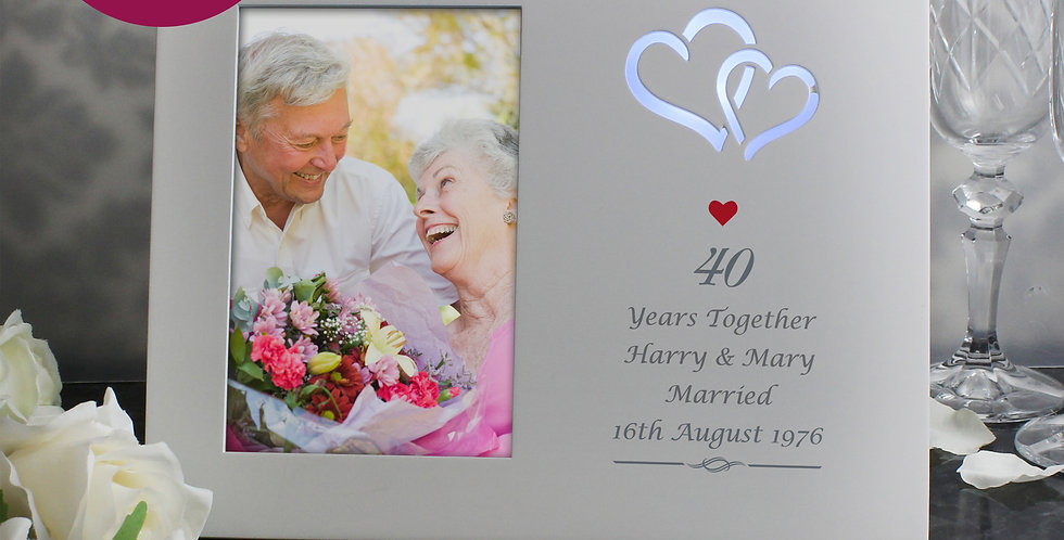 Personalised Silver Hearts 6x4 Light Up Frame