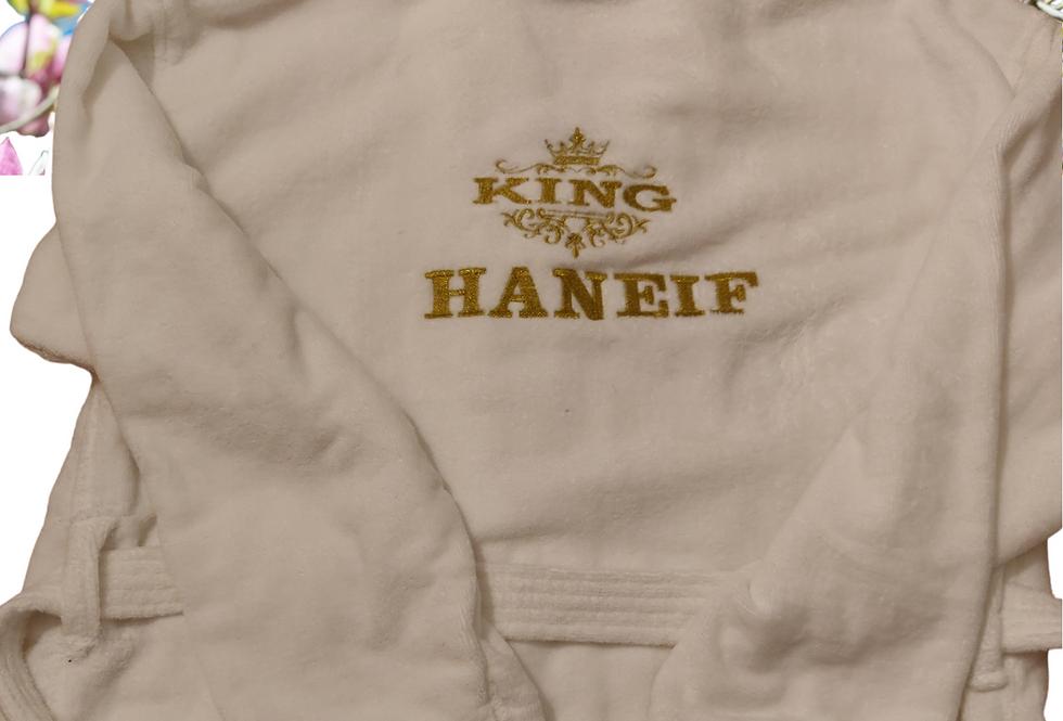 "Personalised Custom Unisex Bathrobe ""Crown Design  Or King""Embroidery"