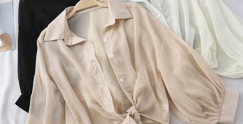 HELIAR Chiffon Shirts Half Sleeve Button Up Chiffon Blouses