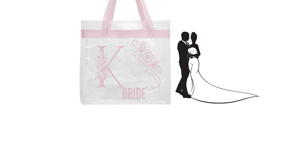 Floral Alphabet Letter Initial Personalised BrideTransparent tote bag