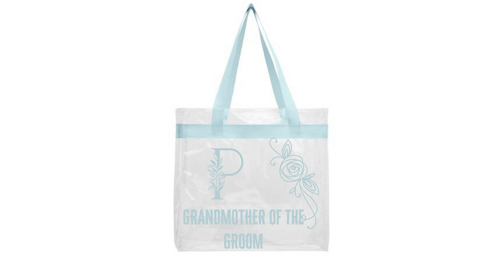 Alphabet Initial Personalised Grandmother Of The Groom Transparent Tote Bag