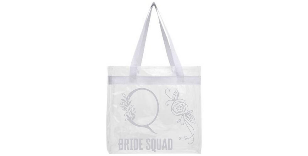 Floral Alphabet Letter Initial Personalised Bride Squad Transparent Tote Bag