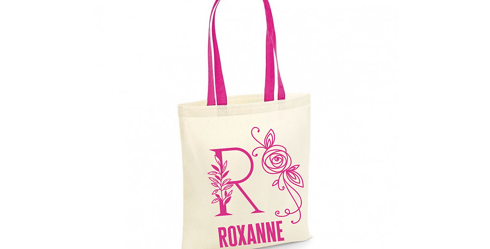 Floral Alphabet Any Letter Initial Personalised Tote Bag