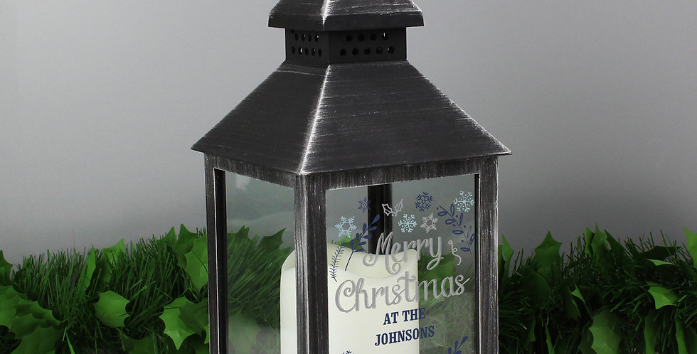 Rustic Black Lantern Personalised Christmas Frost