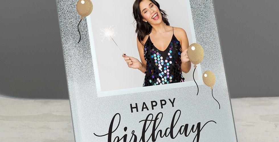 Personalised Birthday 4x4 Glitter Glass Photo Frame