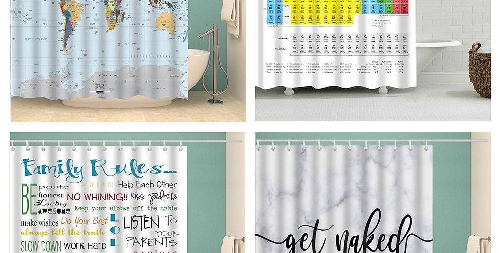 World Map Shower Curtain Waterproof for Bathroom