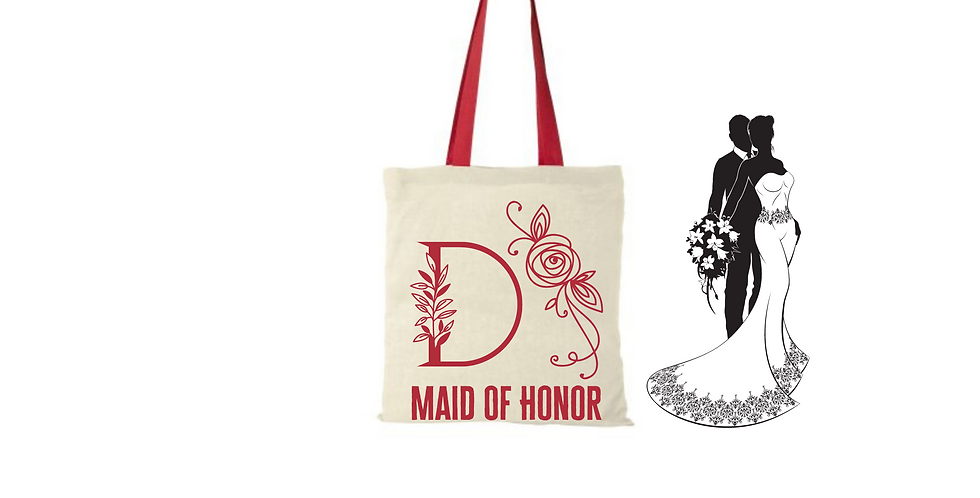 Floral Alphabet Any Letter Initial Personalised Maid Of Honor Tote Bag