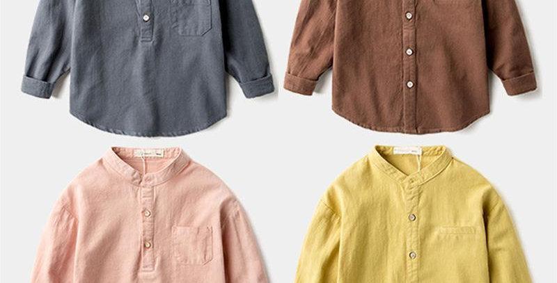 Boys Shirts Fashion Cotton Long Sleeves