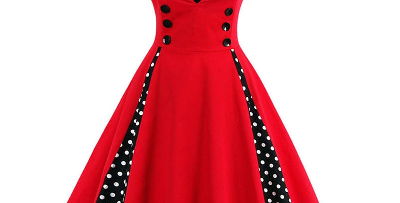 Robe Retro  Vintage Dress 50s 60s Rockabilly Dot Swing