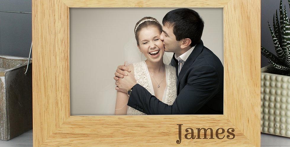 6x4 Oak Finish Photo Frame Personalised Couples