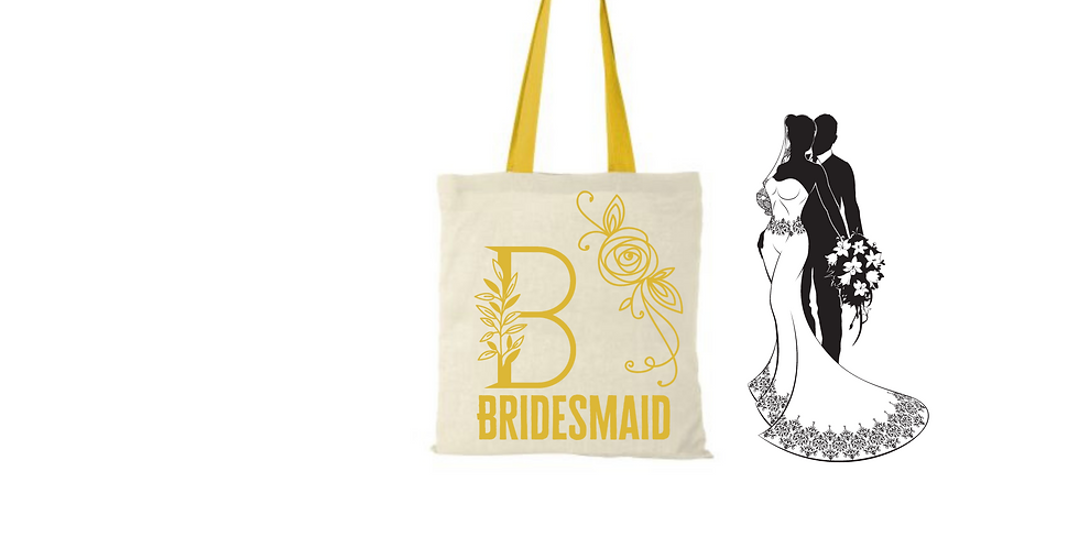 Floral Alphabet Any Letter Initial Personalised Bridesmaid Tote Bag