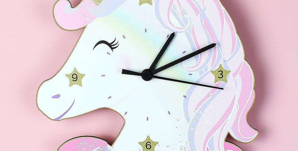Unicorn Shape Wooden Clock Personalised