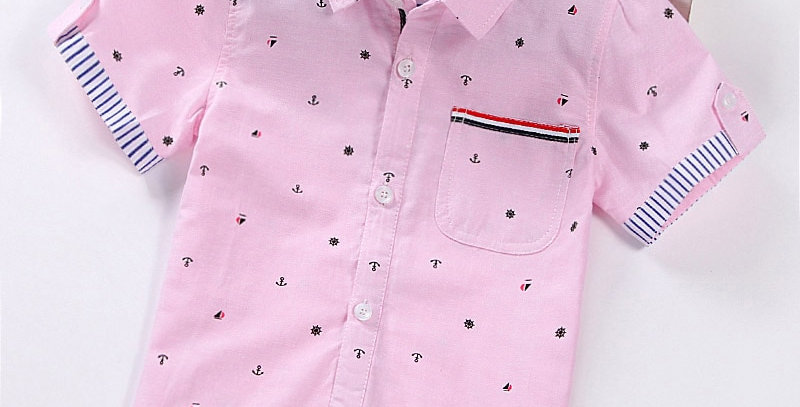 Children Shirts Casual Solid Cotton Short-Sleeved Boys