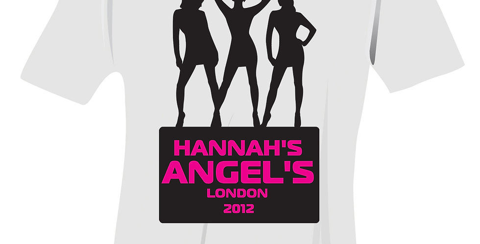 T-Shirt - White - Small Personalised Angels Hen Do