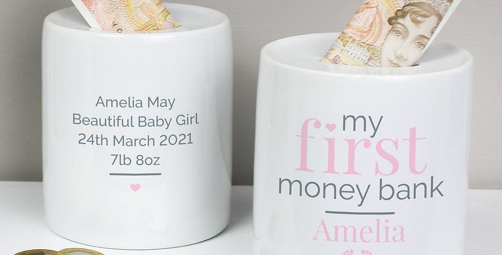Personalised Pink My First Ceramic Money Box