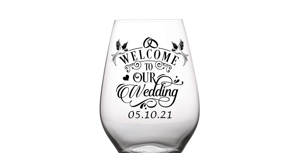 Welcome To Our Wedding Glass