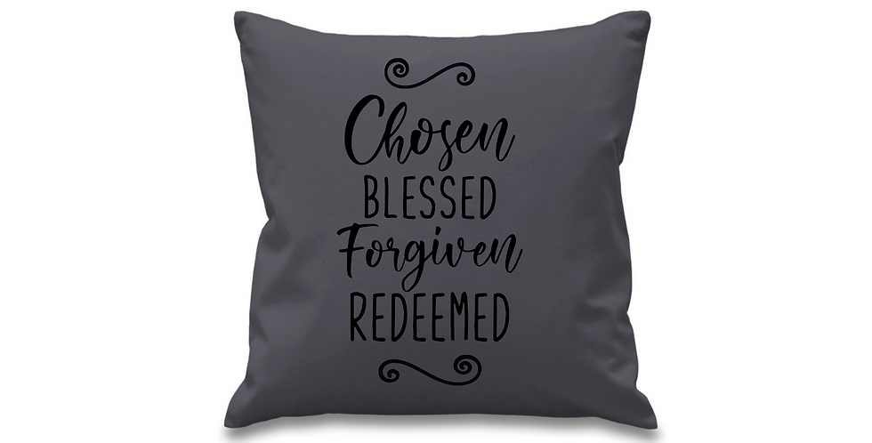 Wedding Cushion Cover Chosen Blessed Forgiven Redeemed