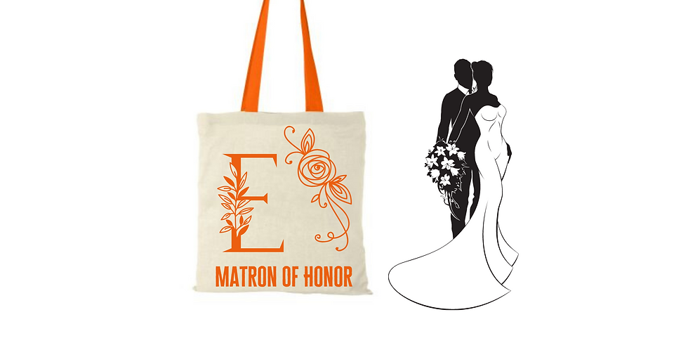 Floral Alphabet Any Letter Initial Personalised Matron Of Honor Tote Bag