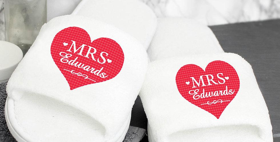 Slippers Personalised Mrs Velour