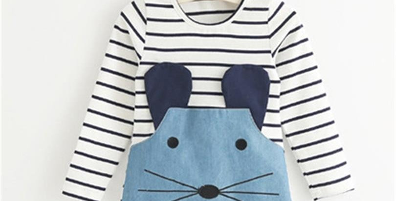 Striped Patchwork Character Girl Dresses Long Sleeve Cute Mouse