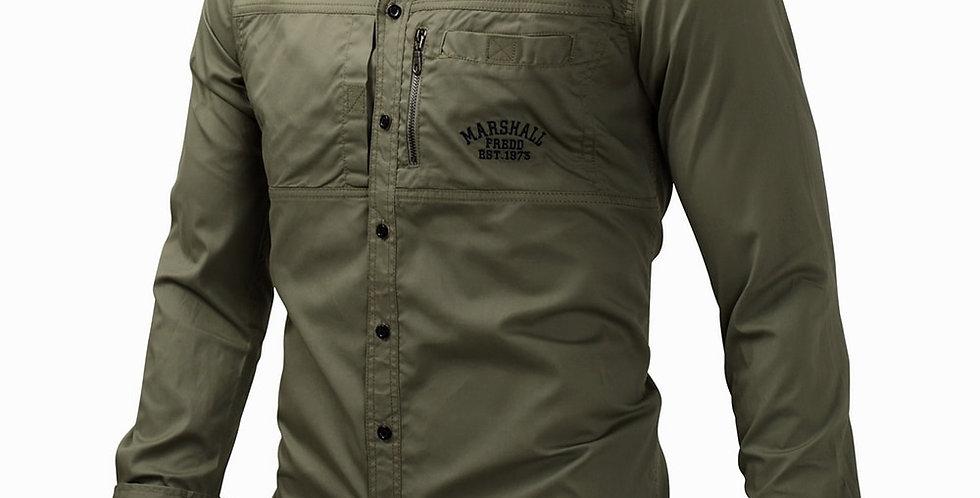 Military Shirt Long Sleeve Multi-Pocket