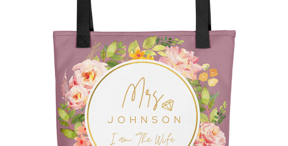 Personalised Wedding Tote bag Mrs Johnson I Am The Wife EST. 9.10.2021