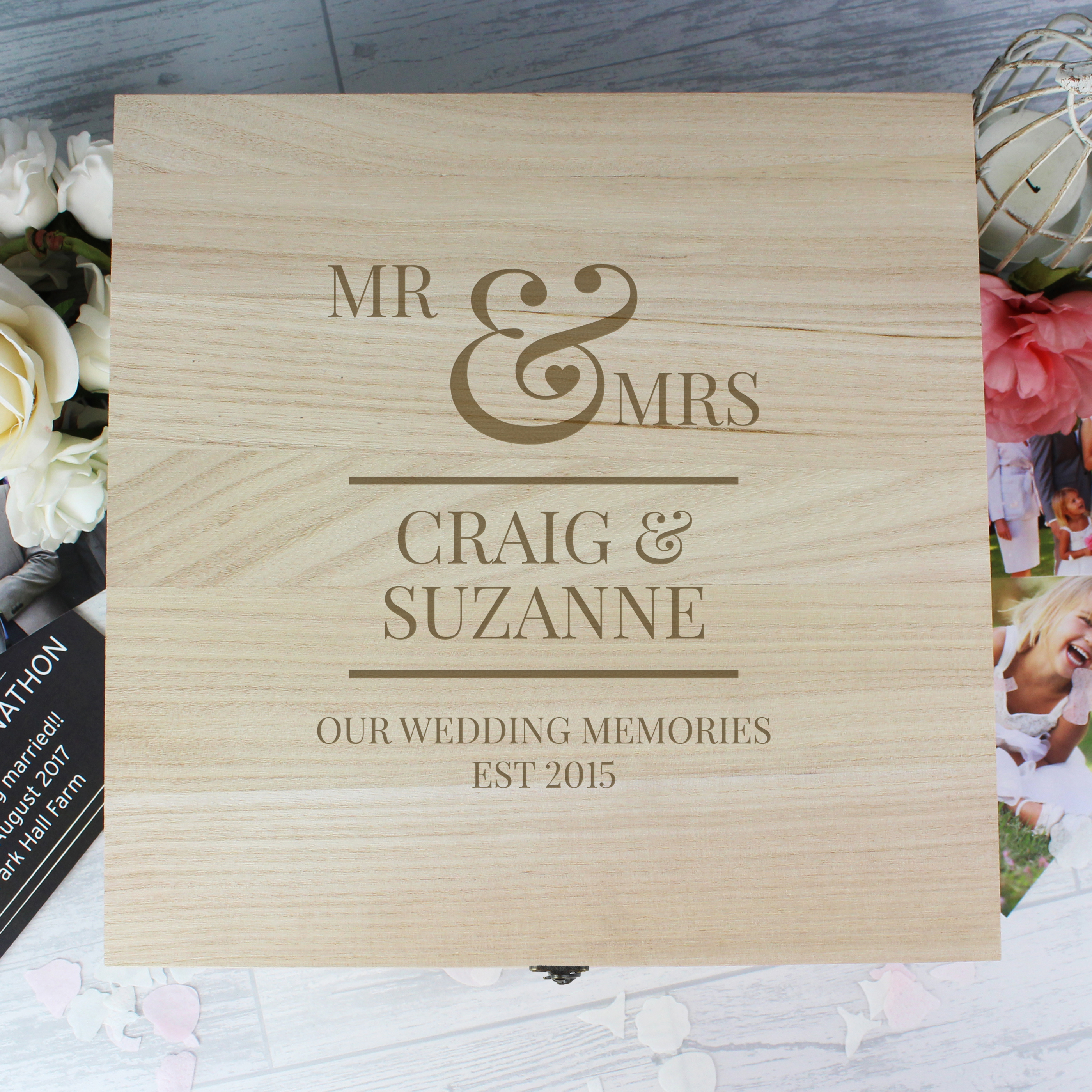 Large Wooden Keepsake Box Personalised Mr & Mrs