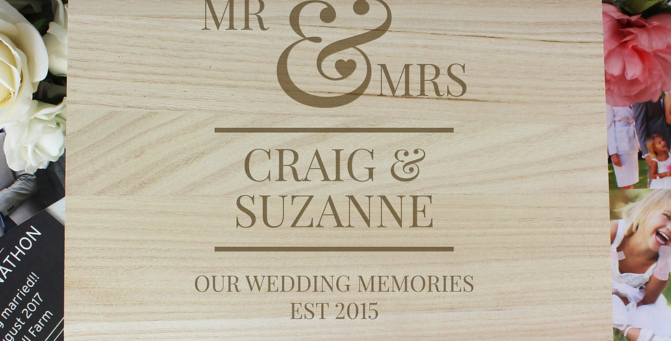 Large Wooden Keepsake Box Personalised Mr & Mrs