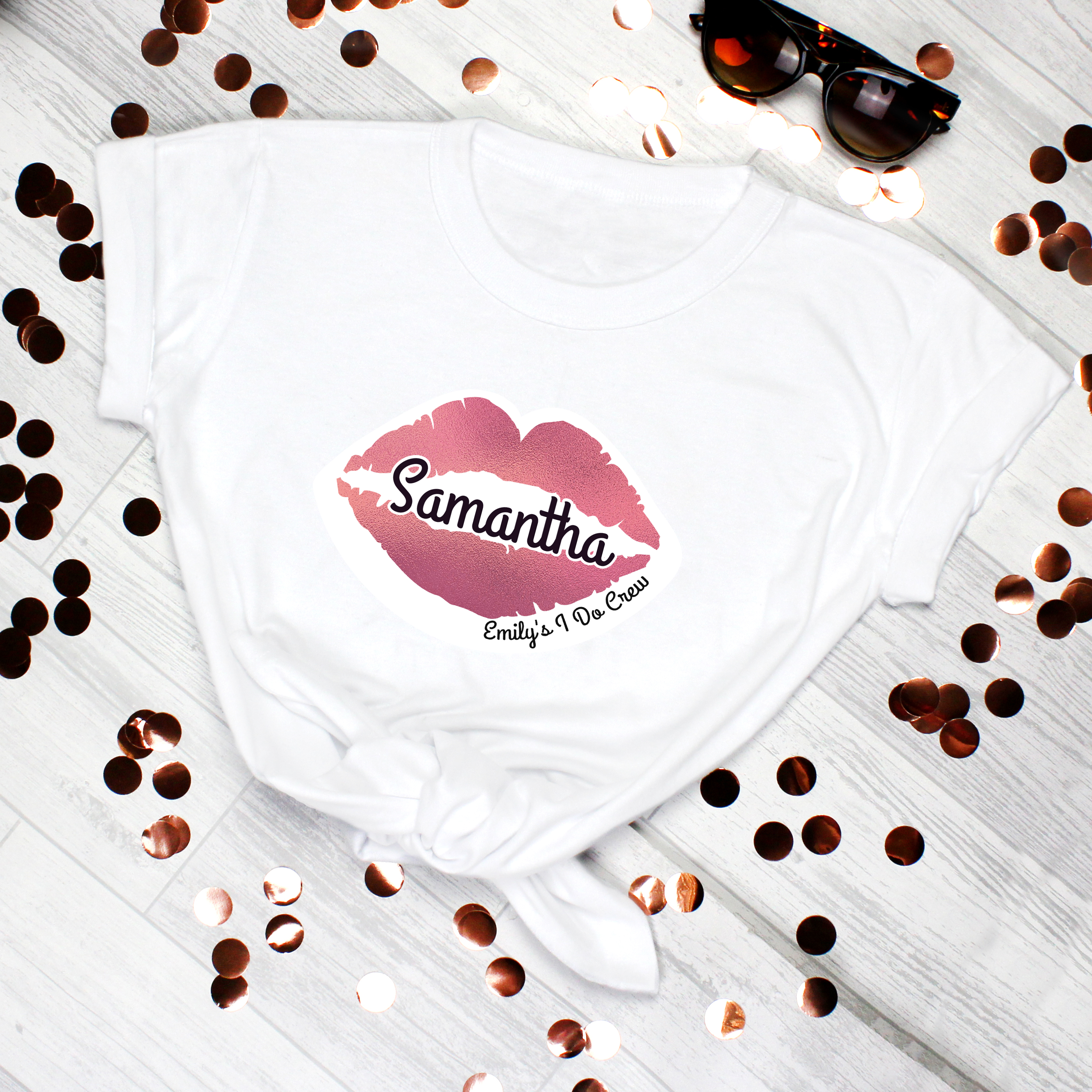 Personalised Rose Gold Lips Hen Party T-Shirt - White Small Personalised Rose