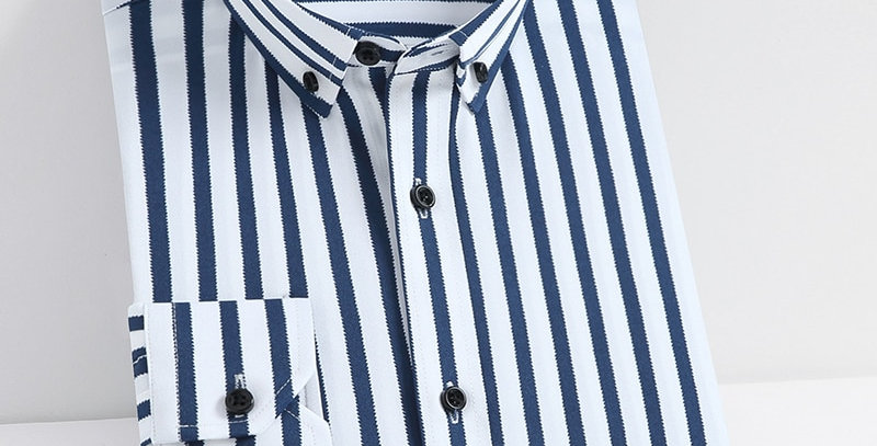 Stretch Striped Basic Dress Shirt