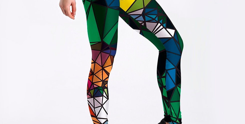 Qickitout Leggings Sample Women's Diamond Color Stitching Leggings
