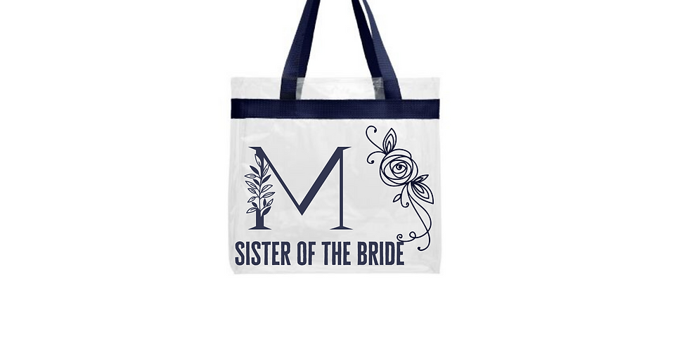Floral Alphabet  Initial Personalised Sister Of The Bride Transparent tote bag