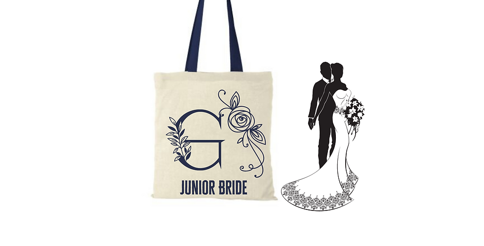 Floral Alphabet Any Letter Initial Personalised Junior Bride Tote Bag
