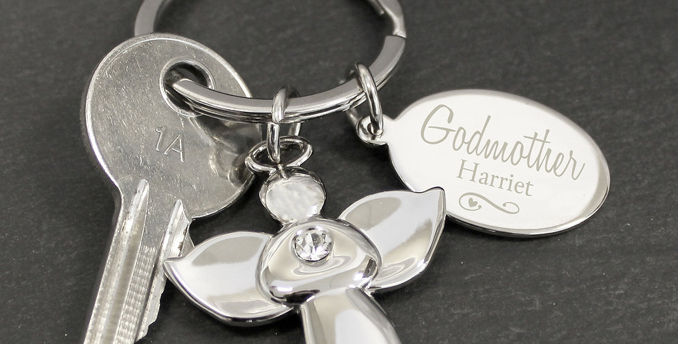 Personalised Silver Plated Swirls & Hearts Godmother Angel Keyring