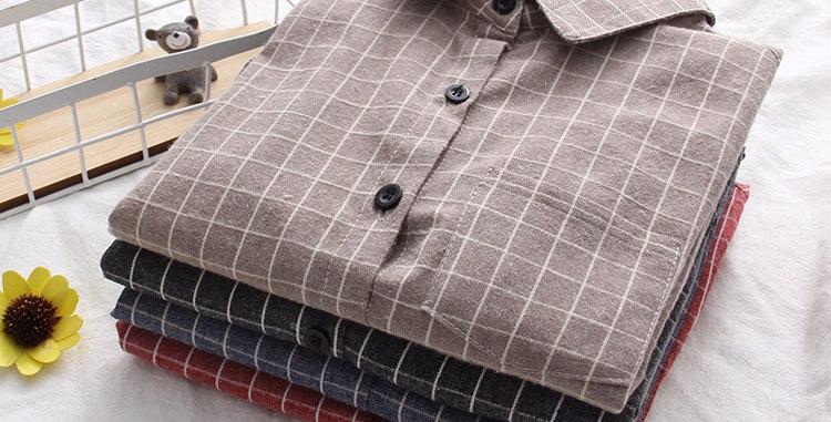 Plaid Shirt Brand Cotton Casual  Long Sleeve Blouses