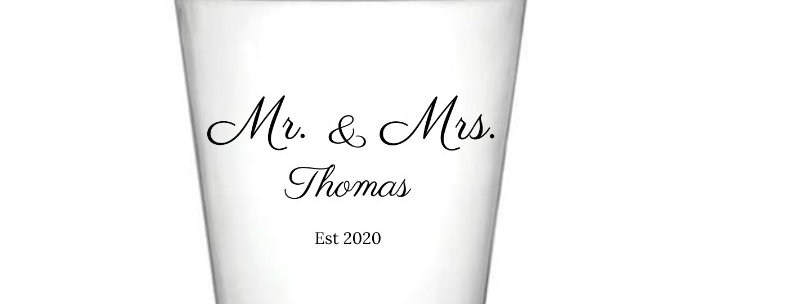 Personalised Mr. & Mrs Crystal Clear Plastic Party Cups - Set Of 8