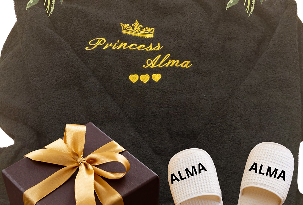 """Awesome Personalised Custom Unisex Bathrobe """"Crown Design Or King""""Embroidery"""
