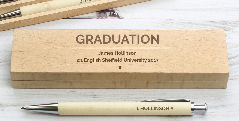 Wooden Pen & Pencil Box Set Personalised Classic