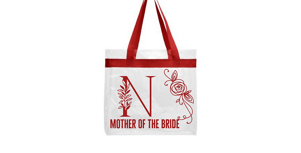 Floral Alphabet Initial Personalised Mother Of The Bride Transparent tote bag
