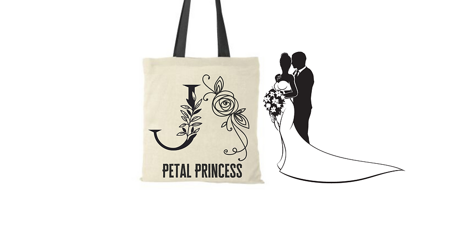 Floral Alphabet Any Letter Initial Personalised Petal Princess Tote Bag