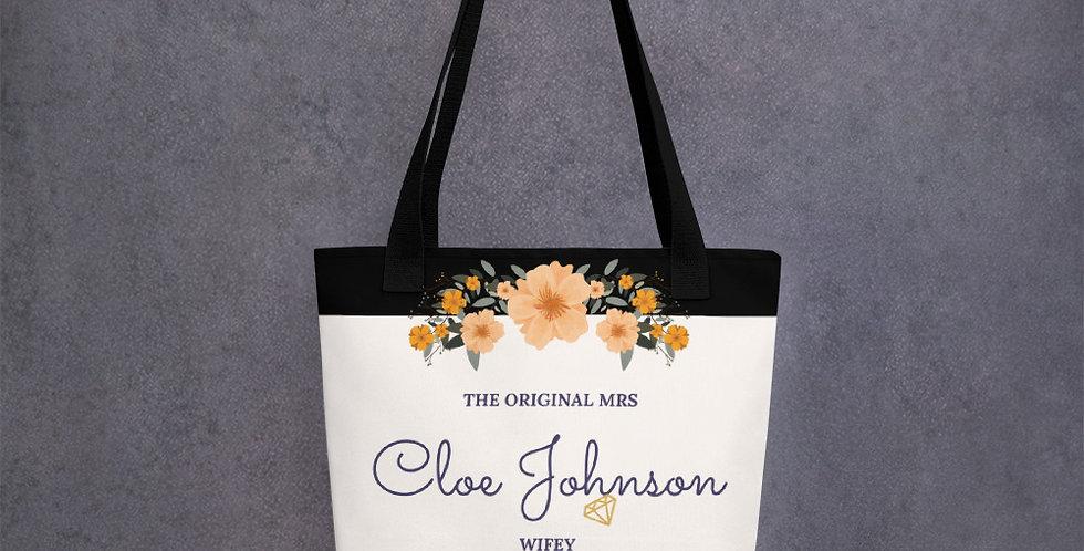 Personalised Wedding Tote bag The Original Mrs Cloe Johnson WIFEY Tote bag