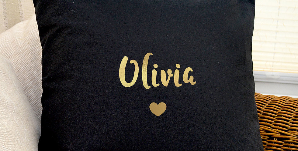 Cushion Cover Personalised Gold Name Black