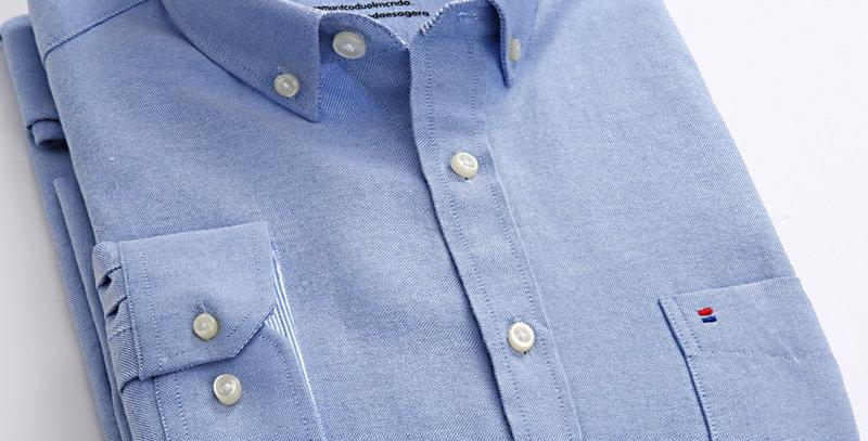Long Sleeve Oxford Plaid Striped Casual Shirt