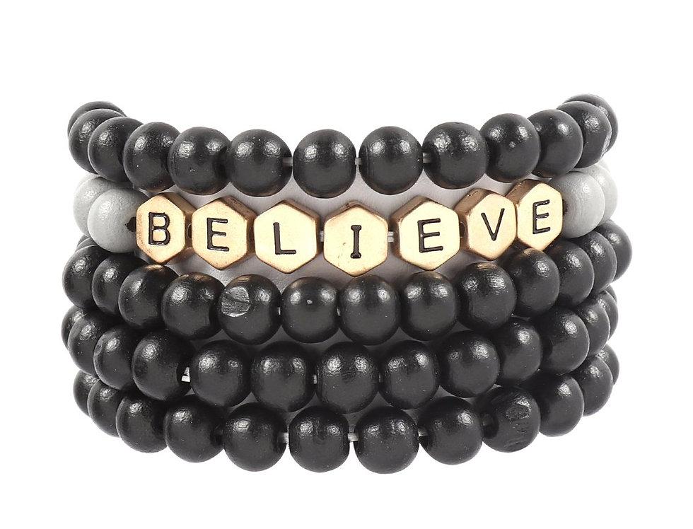 """Hdb3022 - """"Believe"""" Charm Multiline Beaded Bracelet"""