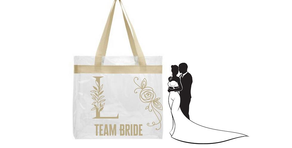 Floral Alphabet Letter Initial Personalised Team Bride Transparent tote bag