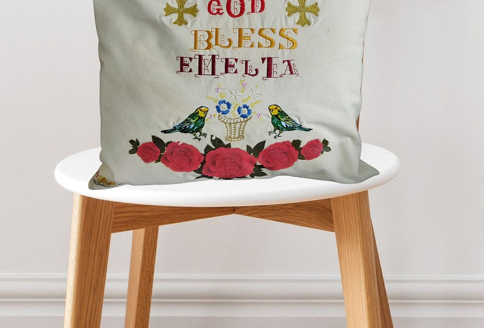 God Bless Emelia Embroidered Cushion