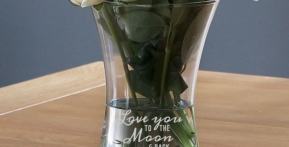 Glass Vase Personalised Love You To The Moon and Back