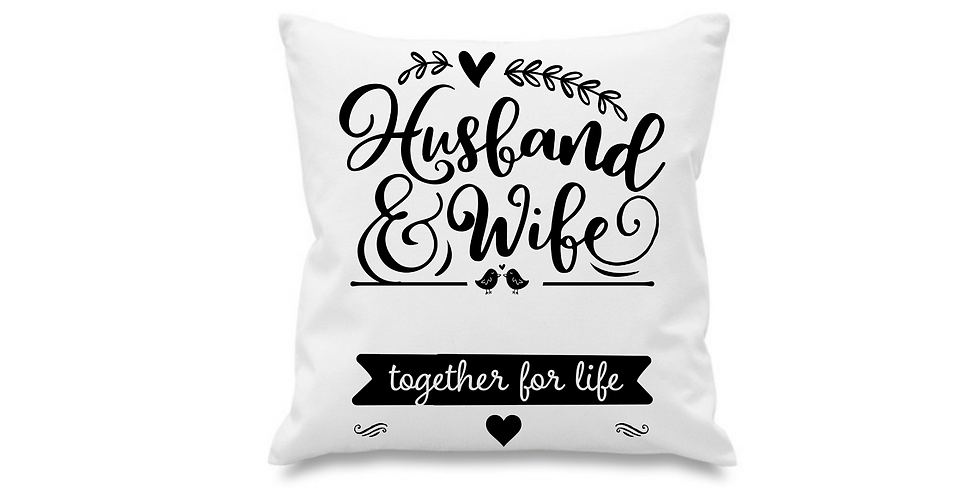 Wedding Personalised Cushion Cover Husband & Wife Together For Life