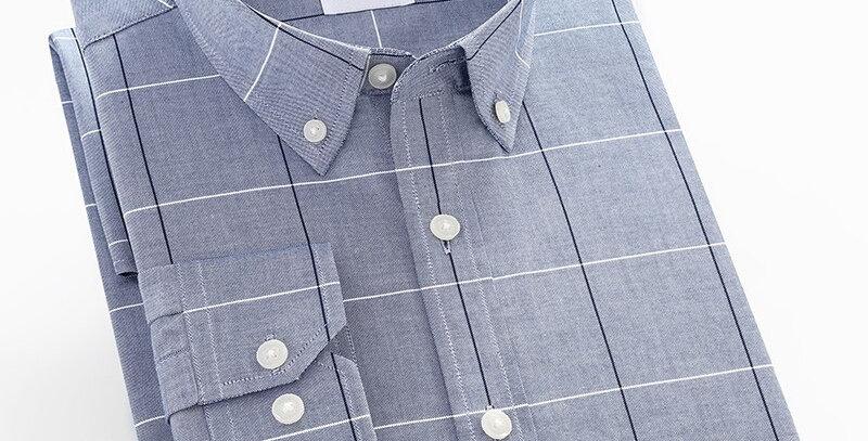 Plaid Checkered Oxford Cotton Shirts